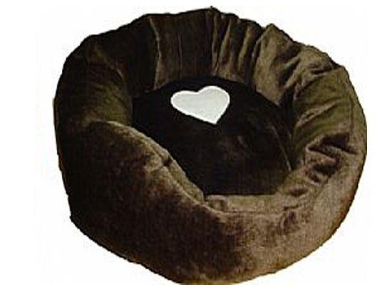 Kρεβάτι στρογγυλό γούνινο με σχέδιο καρδιάς.